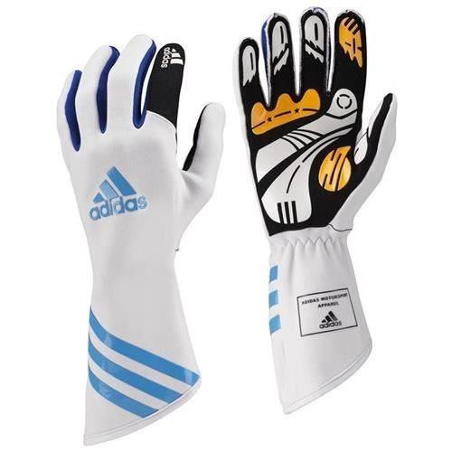 136-0101 Adidas Kart XLT Gloves White-Cyan-White